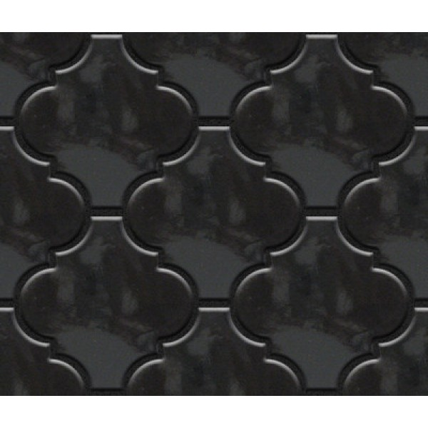 Black Arabesque Lantern Tile