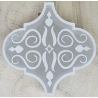 SALE - Pale Grey Arabesque Encaustic Tile