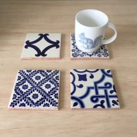 Blue Decorative Tile Drink Coasters