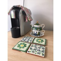 Green Decorative Tile Drink Coasters