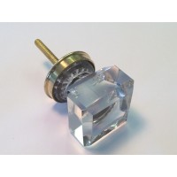 Michael Glass Square Knob Brass