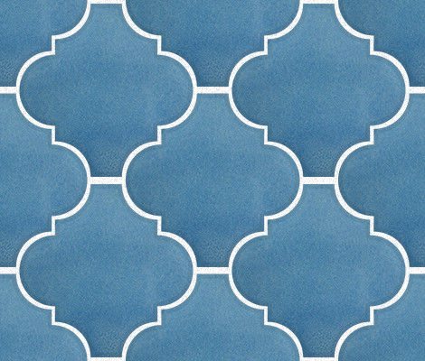 Aqua Blue Arabesque Lantern Tile